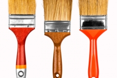 collection of new paint brushes on a white background isolation